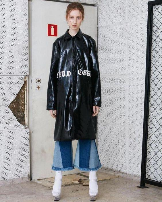 Misbhv Hard Core Black Patent Coat as seen on Rihanna