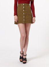 Khaki Button Through Skirt