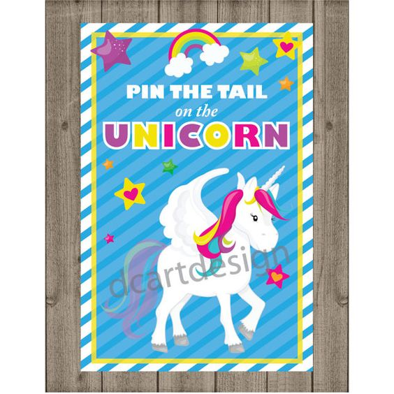 Unicorn games the unicorn and unicorns on pinterest for Pin the tail on the dinosaur template
