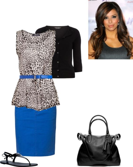 Animal print belted peplum blouse. Love this electric blue styled with gray snow leopard