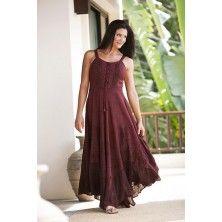 Burgundy Wine Riona Bustier Corset Empire Gypsy Peasant Boho Maxi Sun Dress