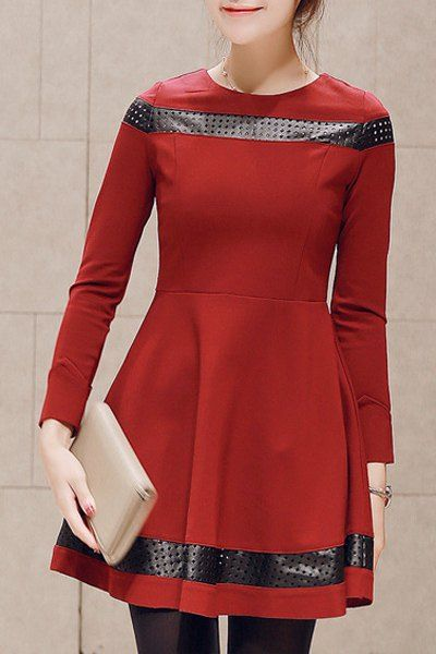 Sweet Women's Round Collar Hollow Out PU Leather Spliced Long Sleeve Dress