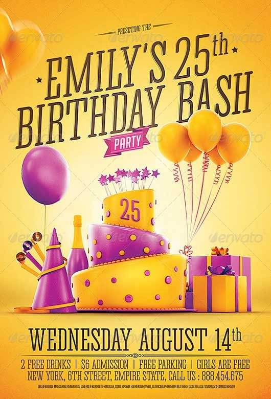 Birthday Party Invitation Flyer Template - http://ffflyer.com/birthday-party-invitation-flyer-template/ The ultimate flyer design for your birthday party.. Built in 3D specifically for this template, with poping colors, and editable text on the cake.. a unique layout, and a clean organized PSD for easier editing..  You can easily change Texts, Add/Remove objects to this layered PSD , To get new versions of the design.. What you see is what you get… all elements shown are