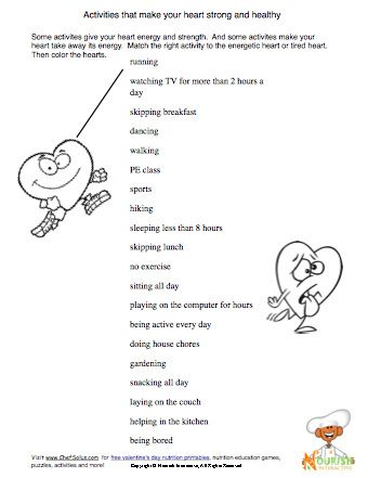 Worksheet Healthy Living Worksheets kid the ojays and yahoo search on pinterest some activities help keep our heart healthy can you match to living worksheets