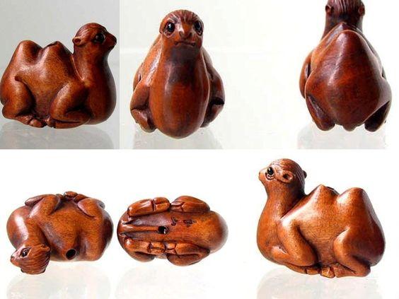HOT! Carved BOXWOOD Resting Desert CAMEL Bead 004128AY - Premium Bead