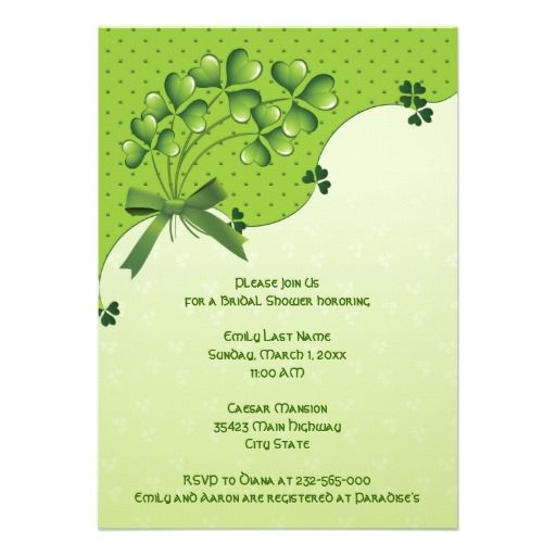Bunch of clover  bow Irish wedding bridal shower Personalized Invites
