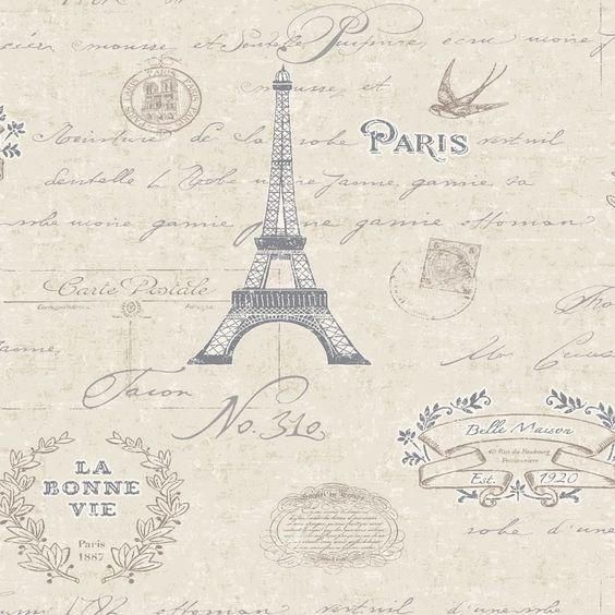 Beige - 89180 - Paris - Calligraphy - Kitchen & Bathroom - Vinyl ...