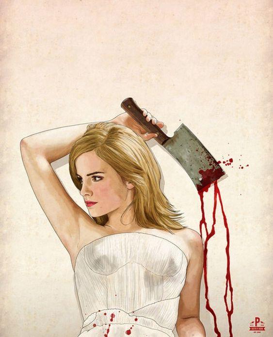 Ilustrador americano mostra atrizes em versões sexy e violentas