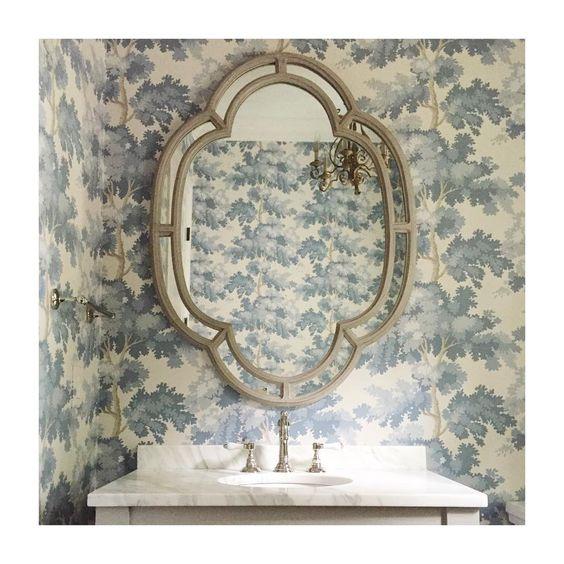 Jewel box powder room with blue & white Stark wallpaper - Sarah Bartholomew