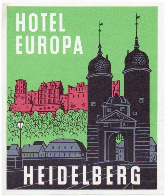 Hotel Europa, Heidelberg, Germany, old luggage label | eBay