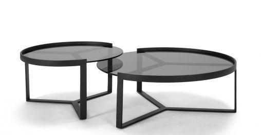 Aula 2er Set Beistelltische Schwarz Und Grau Wohnzimmertische Couchtisch Rund Tisch