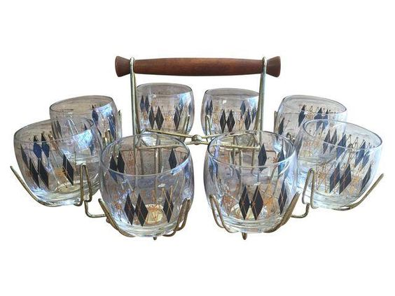 Mid-Century Glasses in Brass Caddy - Set of 8 on Chairish.com