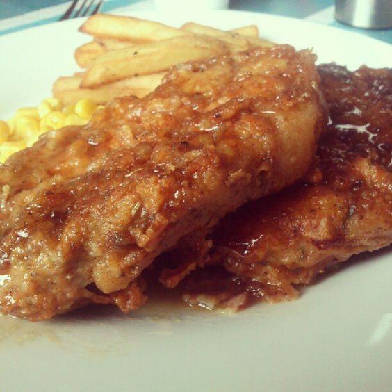 Double crunch honey garlic pork chops! Double yum!