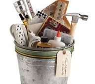 gifts in a bucket: housewarming, baby shower, hospital survival kit, etc.  very cute and practical!