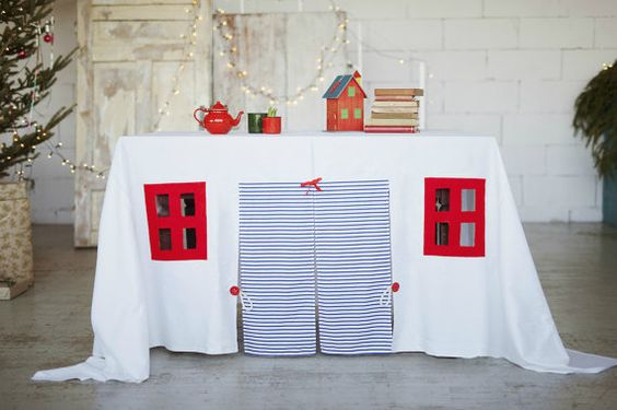 Table play house playhouse tablecloth play by LittleCrownShop