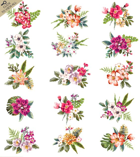 Adore these hand drawn floral bunches! So pretty!