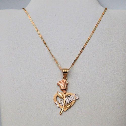 14K Tri-Color Gold 15 Quinceanera Rose Pendant Necklace