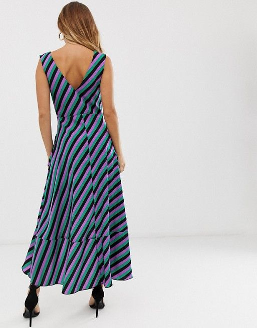 Womens Strappy Pastel Stripe Midi Dress With Button Detailing