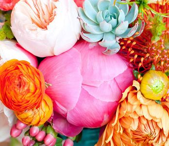 pink/orange/turquoise Color combination of these peonies and such, inspire for baby room textiles and accessories. But just hits of it around the room with shades of white. The black and white font picture will pop in all of this ~GirlNesting