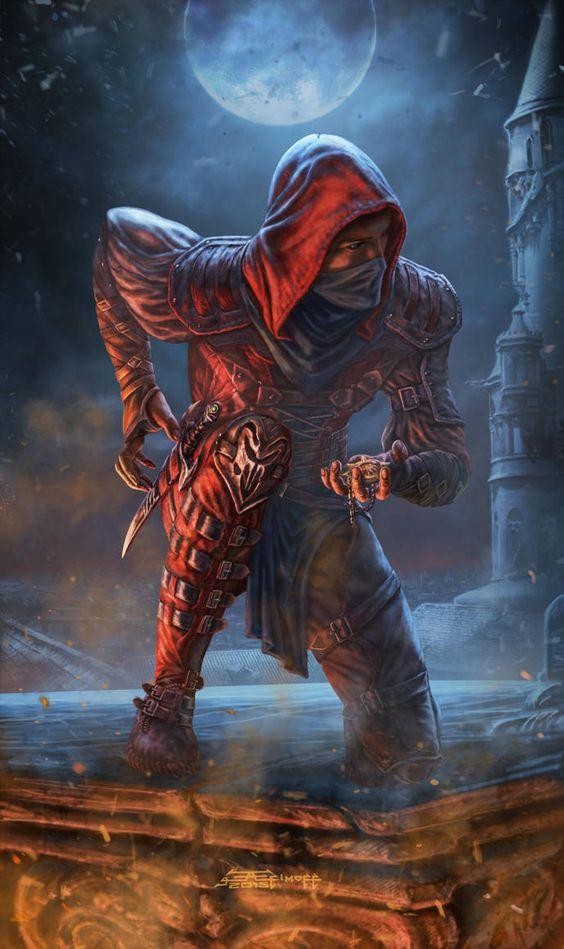 m Rogue Thief Leather Armor Cloak Dagger treasure urban City Roof top Night full moon (10)