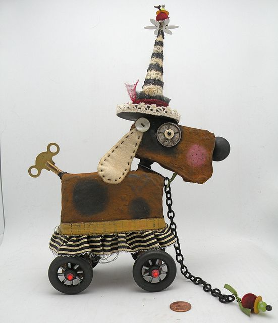 Love this assemblage Dog by Julie Haymaker Thompson