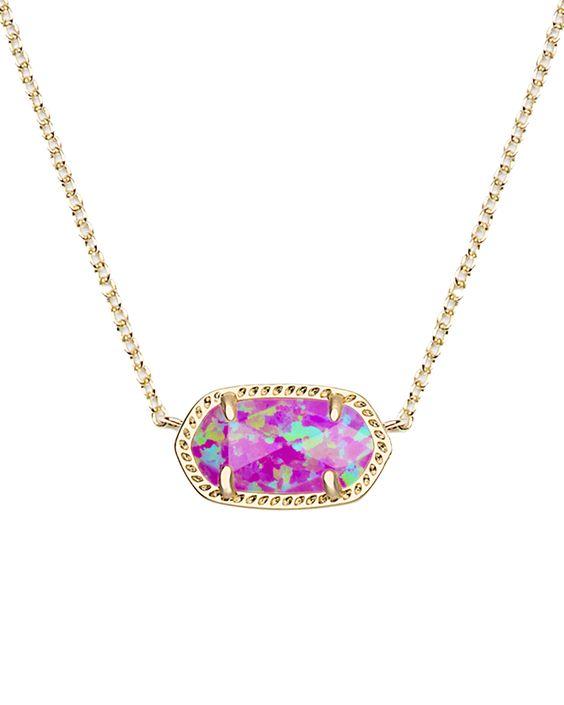 Elisa Pendant Necklace in Fuchsia Kyocera Opal - Kendra Scott Jewelry.