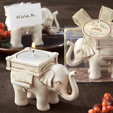 """Lucky Elephant"" Candle Place Card Holder."