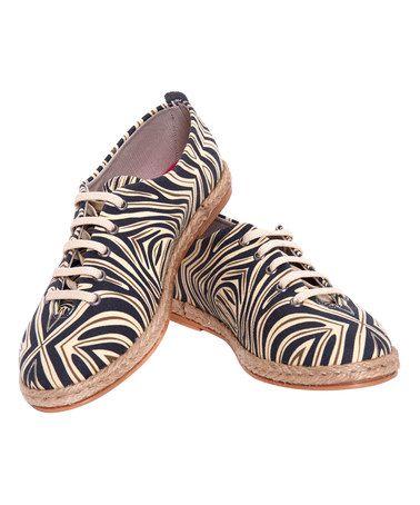 Another great find on #zulily! Black Zebra Stripe Espadrille Oxford #zulilyfinds