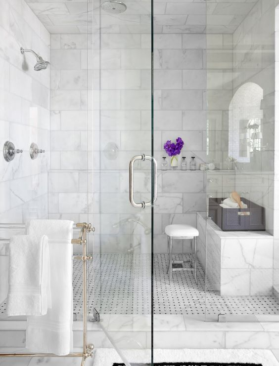 Carrara Marble Shower With Bench My Shower But What Color Walls Bathroom Design Inspiration Marble Bathroom Designs White Marble Bathrooms