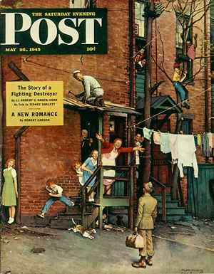 Norman Rockwell, Homecoming GI, Post cover, May 26, 1945