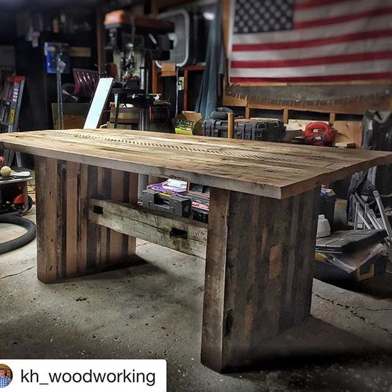 This #featurefriday goes out to Ken over at @kh_woodworking. He is another #teamridgid member and is building some absolutely incredible tables with reclaimed lumber. Head over to his page and give him a follow. ~~~~~~~~~~~~~~~~~~~~~~~~~~~~~~~~~~~~~~~~~~~ #wood #woodworking #finewoodworking #furniture #design #homegoods #wooddesign #designelements #usewoodtocreate #ryobination #teamridgid #handmadeisbetter  #handmadeisbetter #dowoodworking #ff