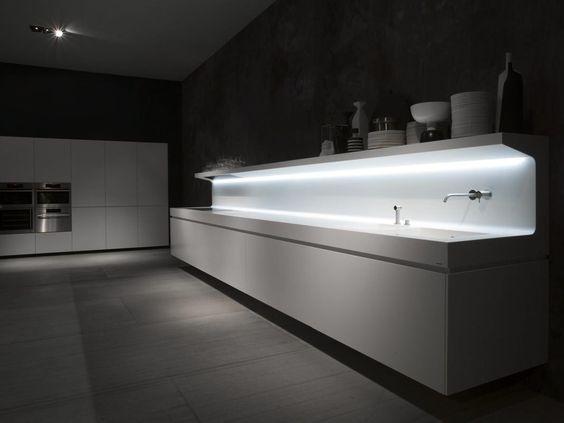 Zeilen- schwebende Küche aus Corian® LACUCINA by Antonio ...