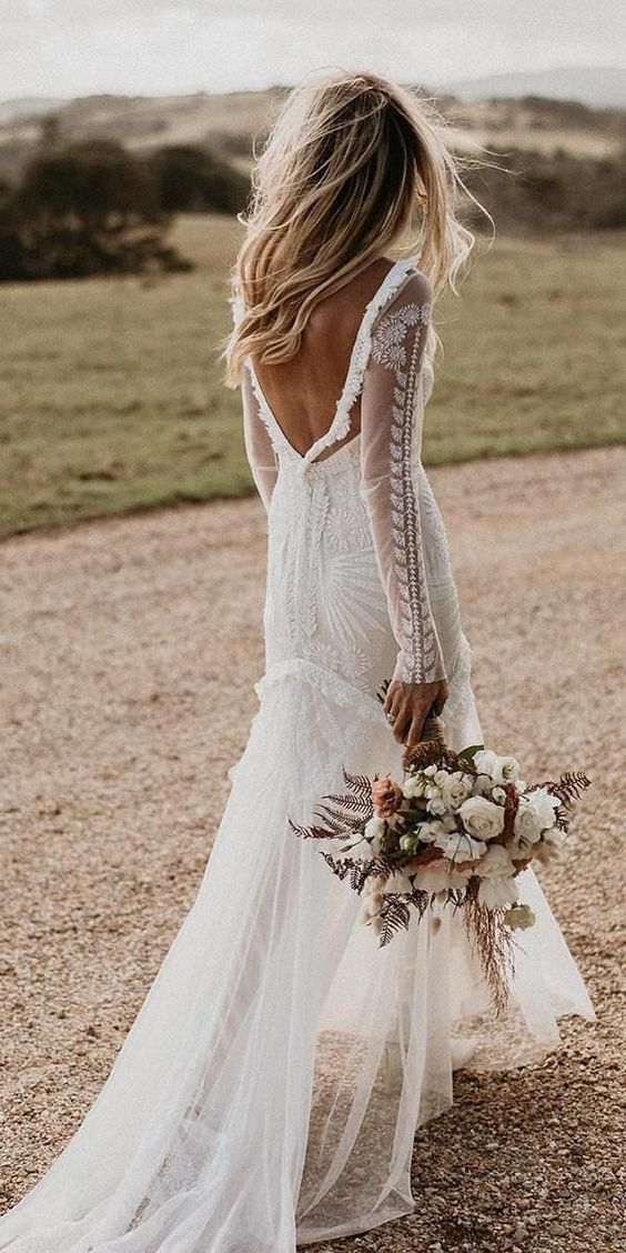 Bohemian Lace Wedding Dress With Deep V Back In 2020 Wedding Dresses Lace Wedding Dress Long Sleeve Best Wedding Dresses