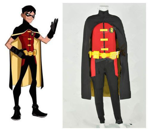 Young Justice Robin Cosplay Costume Jumpsuit Halloween Party Outfit Halloween