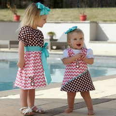 Baby Girls Hot Pink Chevron Dot Aline Dress