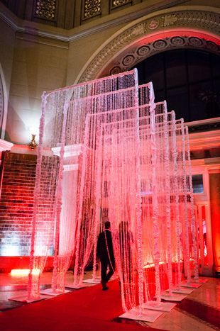 As guests entered into the Governors Ballroom, a red carpet and structures laden with strands of crystals formed a Hollywood-style entrance. Photo: John Tan/Best of Toronto