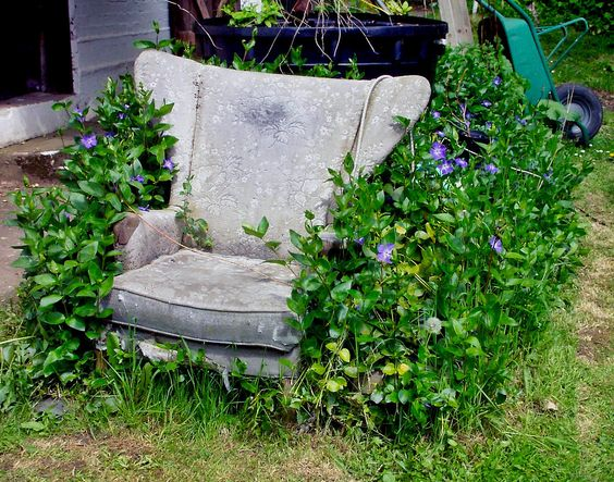 Monastery garden chair (now sadly gone) Saint Barnabas the Encourager Llanmerewig - Powys