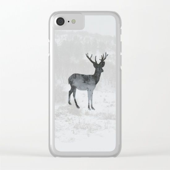Snowing Deer Clear iPhone Case by ARTbyJWP from Society6  #phonecase #iphonecase #clearcase #deer #winter #techaccessories #artprints #buyart #artbyjwp #society6 #society6artist
