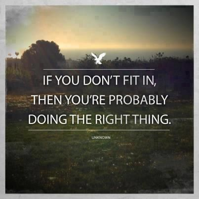 If you don't fit in, then you're probably doing the right thing...