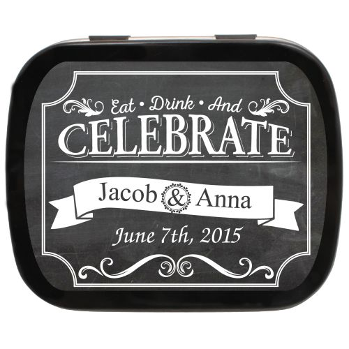 Chalkboard Celebrate Personalized Wedding Favor Mint Tins, great for any theme! #chalkboardideas #favorideas