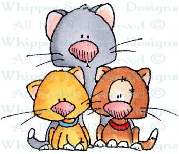 Kitties x 3 - Cats - Animals - Rubber Stamps - Shop: