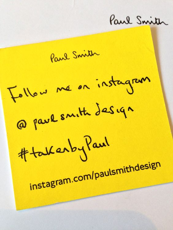Little cards with paul smith's instagram pics on the back; brilliant ...