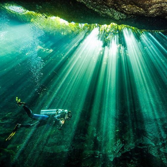 Photograph by @paulnicklen //@cristinamittermeier navigates home after a long day of diving in the caves and cenotes of the Yucatán, Mexico.  Swimming through a gorgeous curtain of light always lets you know that there is open sky and breathing air above.  Please #follow me on @paulnicklen to see more from a recent diving expedition. #adventure #nature #dive #diving @natgeocreative @thephotosociety #gratitude
