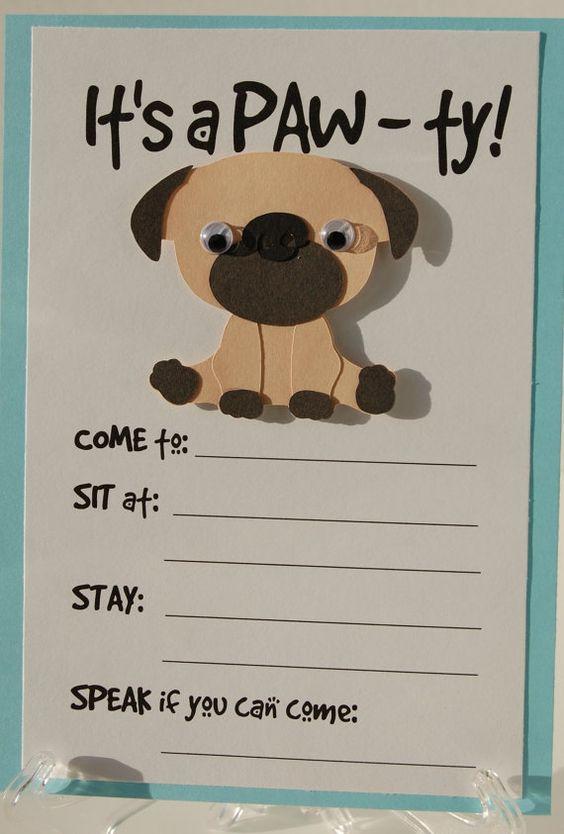 pug party invitation, puppy birthday invites, dog party invites, Birthday invitations