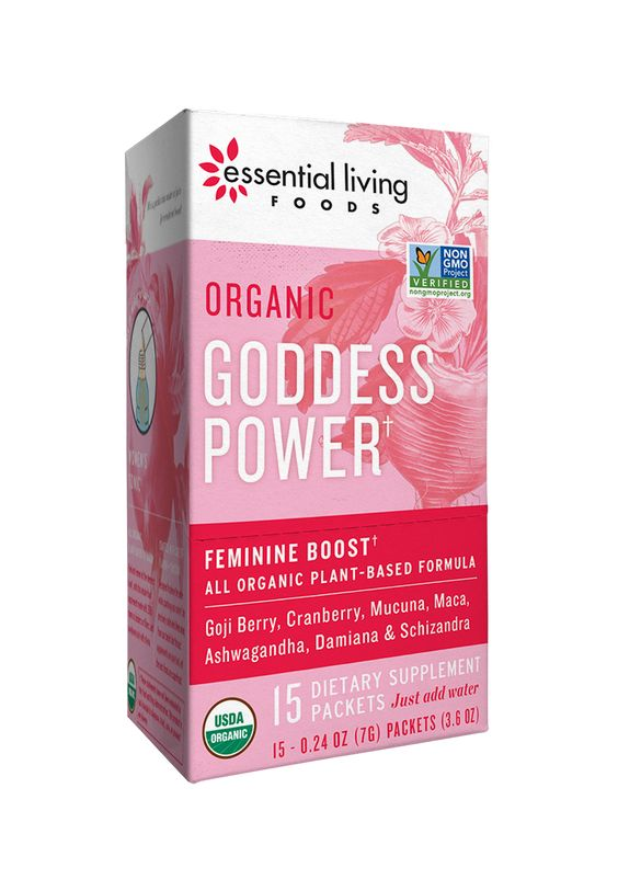 Goddess Power  We created this special formula with all the phases of a woman in mind. It is beneficial to easing discomfort during periods, and even through menopause.  We utilize powerful beautifying elements such as Oat Straw, Pomegranate & Shizandra Berry. To tonify the whole body, and help balance our hormones, we included Maca, Shatavari, Damiana & Cranberry. Completing the elixir are the mood balancing plants, Ashwagandha and Mucuna.