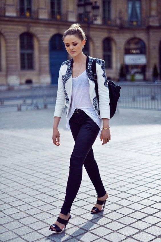 blazer femme moderne en noir et blanc