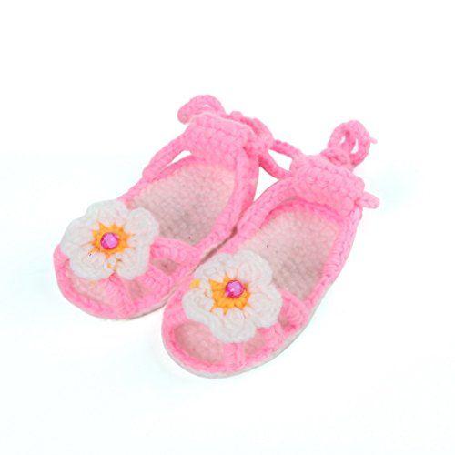 Bigood(TM) 1 Paar Strickschuh One Size Strick Schuh Baby Unisex süße Muster 11cm Blume Pink - http://on-line-kaufen.de/bigood/pink-k-bigood-tm-1-paar-strickschuh-one-size-strick