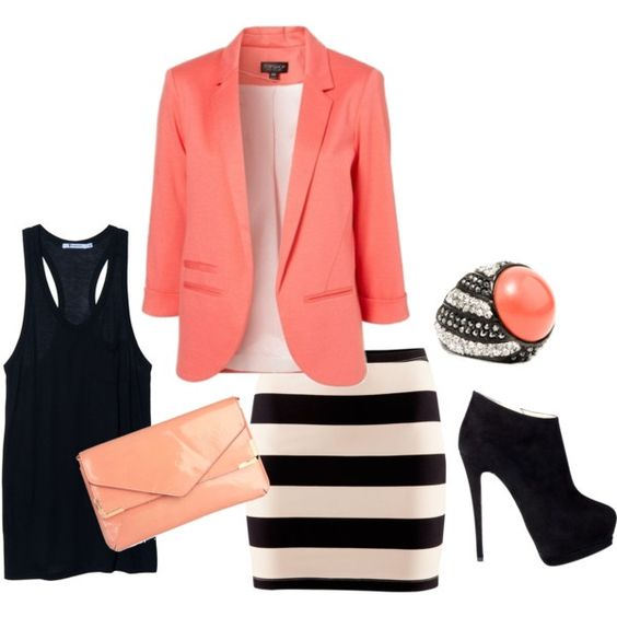 Black white and coral. Cute look for work