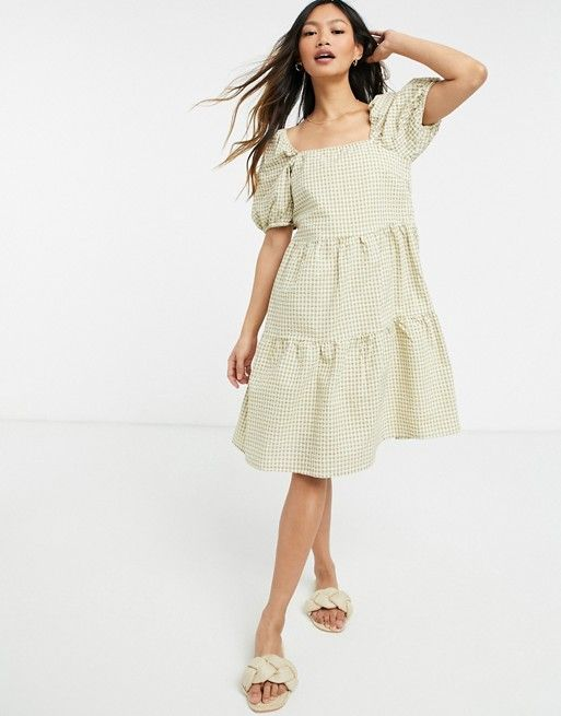 Y.A.S. gingham puff sleeve mini smock dress in sage