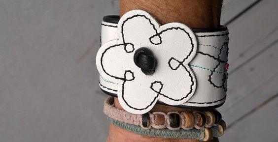 leather upcycled cuff bracelet flower bracelet by SewUnruly